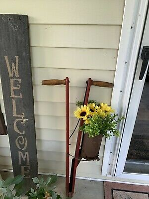 Antique Vintage Wooden Hand Corn Seed Planter  Farm Primitive Tool