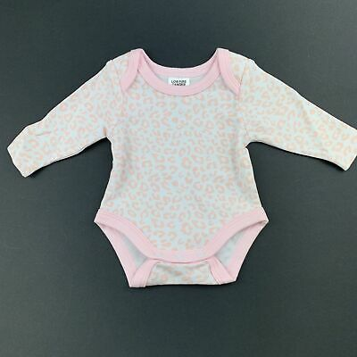 Girls size 0, Baby Berry, pink cotton long sleeve bodysuit / romper, GUC
