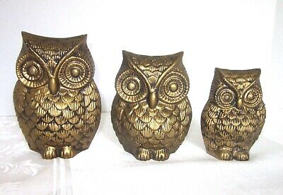 Vintage Owl Decorations Metal Wall Hangings 1960s Gold Owl Family Set of 3