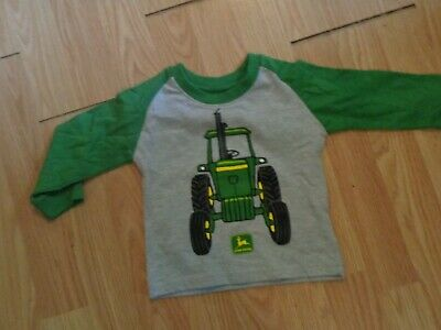 John Deere Long Sleeve Shirts Size 12 Mon Green With Tractor Pic Cotton Blend