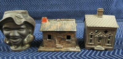 (3) 19th Century Cast Iron Still Banks Cottage, Bank Building, Two Face Black