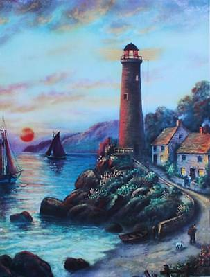Light house Sail boats colorful sky vintage art