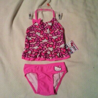 Hello Kitty two piece swimsuit Girls Size 2T  faces bows NEW