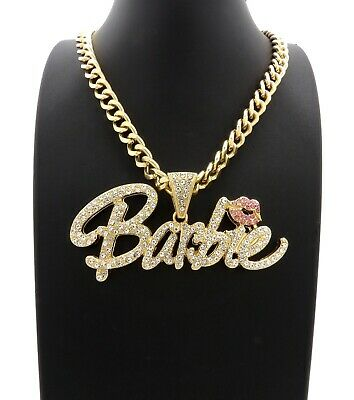 "NEW Barbie Pendant With 9mm 18"" Link Chain Necklace 14k Gold Plated"