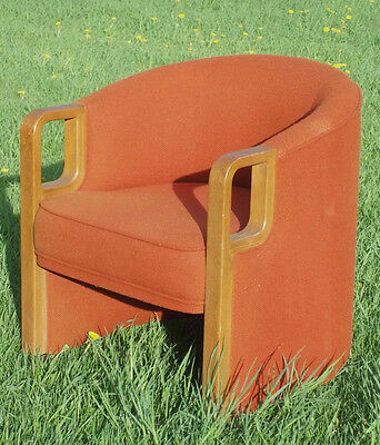 Mid Century Modern Barrel Back Tub Chairs With Bentwood Arms