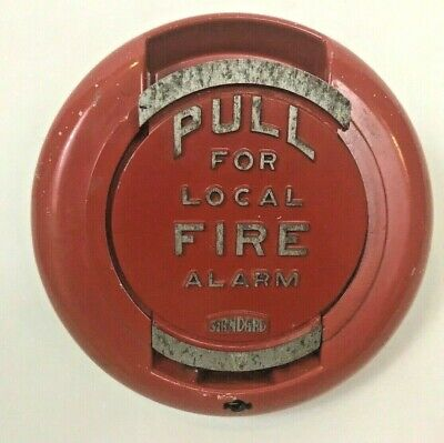 Vintage Standard Electric Time Fire Alarm Pull Station Red Round