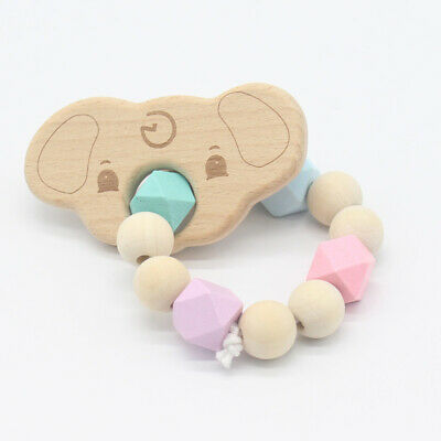 Wooden Crochet Baby Natural Teether Infant Teething Ring Bracelet Toy DL5