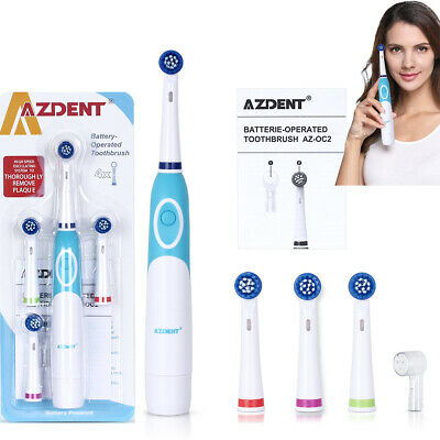 Oral-B style Electric Toothbrush 4 Replaceable Brush Heads Battery Power