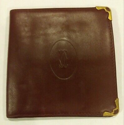 Cartier Burgundy Leather Gold Tone Corner Small Card Holder
