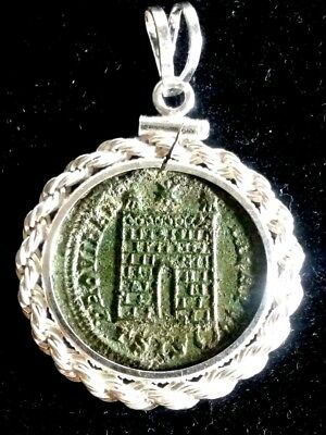 Constantine Great CampGate Genuine Ancient Roman Coin Sterling Pendant Necklace