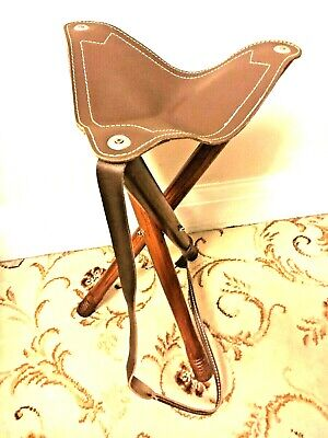 Traditional Tripod Wooden/Leather Stool for Outdoor Activities Camping bushcroft