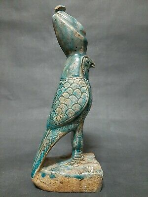 ANCIENT EGYPTIAN ANTIQUES Blue Glazed GOD HORUS Statue Late Period 664-332 BC