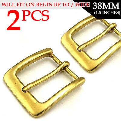 "2pcs Vintage Belt Buckle Solid Brass Single Prong Square Belt Buckle 1.5""(38mm)"