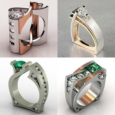 Unique Geometry Emerald CZ 925 Silver/Gold/Rose Gold Ring Women Wedding Jewelry