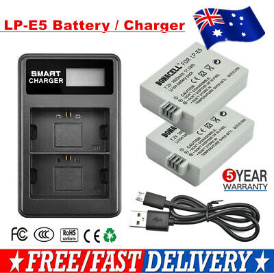 2X LP-E5 Battery / Charger For Canon Rebel XS XSi 450D 500D 1000D Kiss X3 Camera