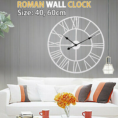 Extra Large Roman Wall Clock 40 60 Cm Numerals Open Face Home Garden Round Uk