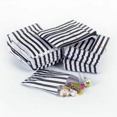 "100 x Candy Stripe Paper Bags Crafts Wedding Party Favours Sweets Gift 9"" x 7"""