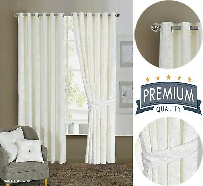 Crushed Velvet Curtain Pairs of Eyelet Ring Top Fully Lined Ready Made Made UK