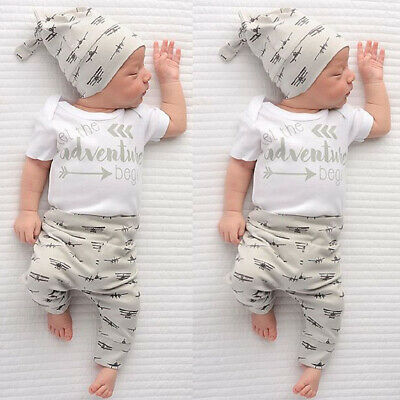UK Canis Newborn Kid Baby Girls Boys Clothes Short Sleeve Romper Leggings Outfit