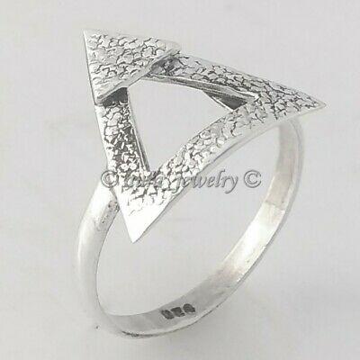 Solid 925 Sterling Silver Geometric Triangle Ring Jewelry - ANY SIZE 4 TO 12