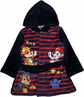 Paw Patrol Boys Stripe Hoodie Dressing Gown Rubble Marshall Chase