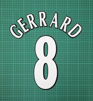 GERRARD #8 1997-2006 Player Size Champions League White Nameset Liverpool