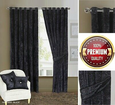 Luxury Crushed Velvet Eyelet Ring Top Curtain Pair Ready Made Fully Lined Black