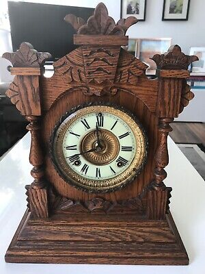 Ansonia Oak Cased Chiming Mantel Clock, GWO and In Exceptional Condition