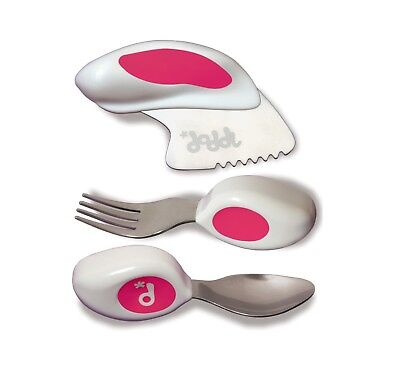 Doddl 3pc Plastic Cutlery Set Knife Fork Spoon for Babies Toddlers Kids Children