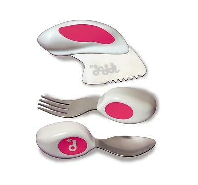Doddl Pink 3pc Cutlery Set Knife Fork Spoon for Babies Toddlers Kids Children