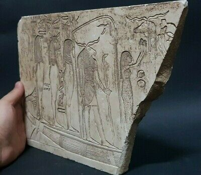 Ancient EGYPTIAN Antiques Goddess Son Boat Stela Wall Fragment Relif Stone BC