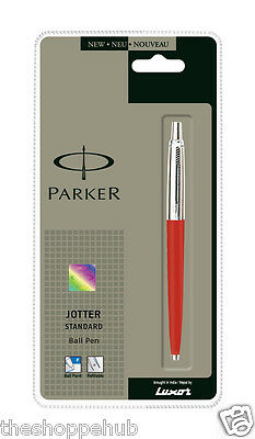 Personalised Engraved Parker Jotter Standard CT Red Ball Pen Chrome Trim