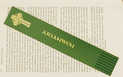 Bookmark LEATHER CELTIC CROSS Personalised in CELTIC SCRIPT WITH ANY NAME
