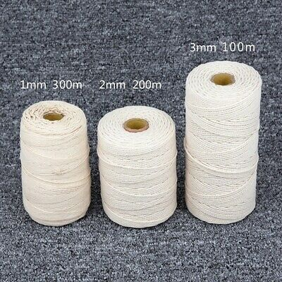 1/2/ 3mm Twisted Cord Rope Beige Cotton Craft Macrame Artisan String 200m / 400m