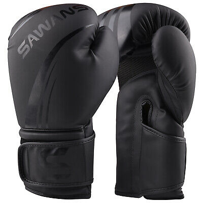 SAWANS® Leather Boxing Gloves Professional MMA Sparring Punch Bag Training Fight