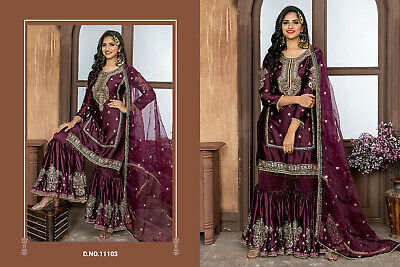 Indian Sharara Salwar Kameez Designer Plazzo Pakistani Wine Lengha Sarara Suit