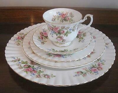 Royal Albert Moss Rose 5 Pc. Place Setting Three Plates, Cup, Saucer Lovely