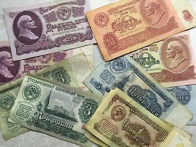 1961-91 USSR CCCP PAPER MONEY BANKNOTES DOUBLE 10 PCs SET ROUBLES COLLECTION LOT