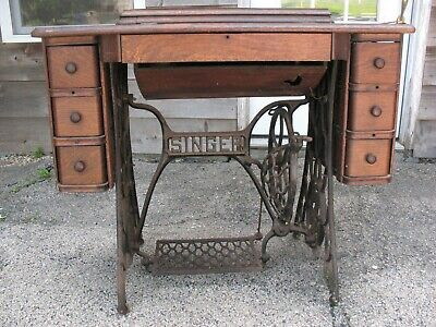 Antique Singer Treadle Sewing Machine 6 Drawers Cast Iron Legs 1920 Good!