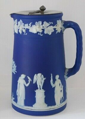 "Antique Pitcher Wedgwood Cobalt Blue with Metal Lid 6.5"" Inches"