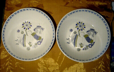 Figgjo Norway Lotte Turi Lot: 2 Coupe Cereal Bowls Handpainted Silcscreen 6 3/4""