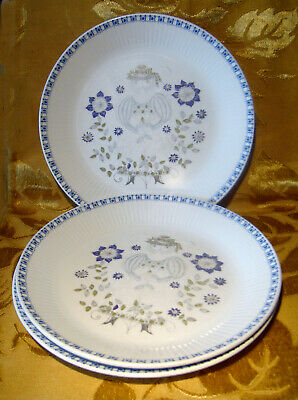 Figgjo Norway Lotte Turi Lot Of 3 Luncheon Plates Handpainted Blue Stamp 9 3/8""