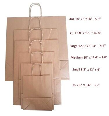 100 Brown Twist Handle Paper Party and Gift Carrier Bag / Bags With Rope Handles