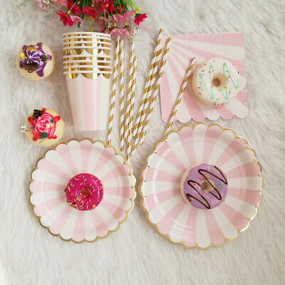 69Pcs/Set Pink Disposable Paper Cups Plates Wedding Birthday Party Tableware