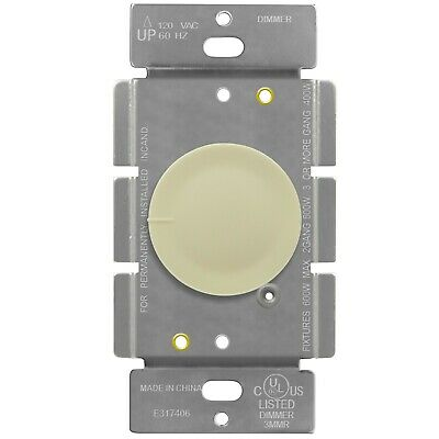 Rotary Dimmer Single Pole Lighted Switch 120VAC 60 Hz Incandescent 600W Ivory