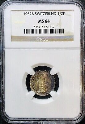 1952 B Switzerland 1/2 Franc Silver KM#23 - NGC MS64 Top 10 Pop - Rainbow Toned