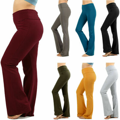 Womens Plus Size Yoga Pants Flare Leg Fold Over Waist Bootcut Gym Workout Cotton