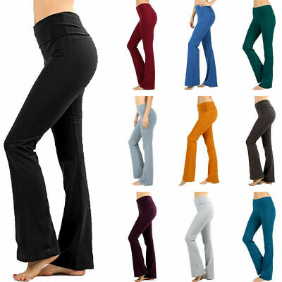 Womens Fold Over Waist Yoga Pants Flare Leg Boot Gym Workout Long Stretch Cotton