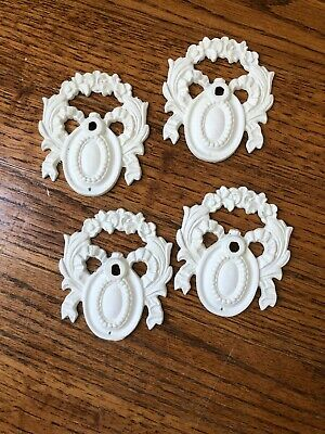 Lot Of 4 Vintage Drawer Medallions Painted White Shabby Chic Fast Free Shipping