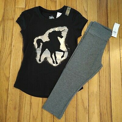 NWT Justice Girls Outfit Unicorn Top/Capri Leggings Size 6 7 12